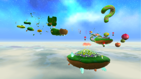 """A screenshot of Gusty Garden Galaxy during the """"Bunnies in the Wind"""" mission from Super Mario Galaxy."""