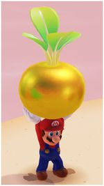 A Golden Turnip in Super Mario Odyssey.