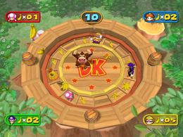 Wario getting slipped in Bananas Faster from Mario Party 7
