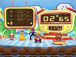 Wario in Clock Watchers from Mario Party 7