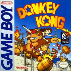 The boxart cover for the Game Boy version of Donkey Kong.