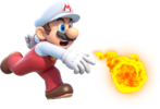 Artwork of Fire Mario from Super Mario 3D World.