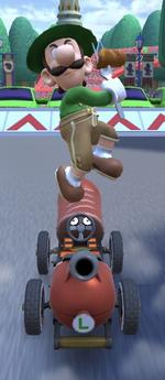 Luigi (Lederhosen) performing a trick.