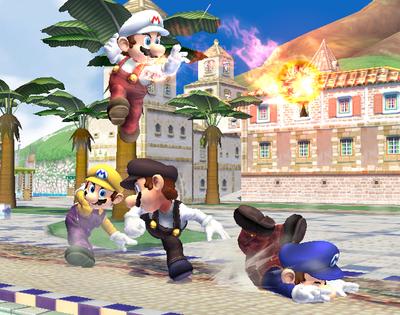 Four different costumes of Mario in Super Smash Bros. Brawl