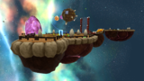 """A screenshot of Boulder Bowl Galaxy during the """"Rock and Rollodillo"""" mission from Super Mario Galaxy 2."""