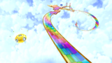 """A screenshot of Rolling Coaster Galaxy during """"The Rainbow Road Roll"""" mission from Super Mario Galaxy 2."""