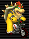 Bowser in the Standard Bike L from Mario Kart Wii