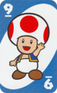 The Blue Nine card from the UNO Super Mario deck (featuring Toad)
