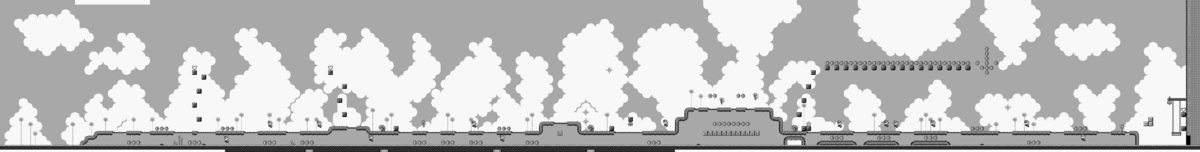 A map of Tree Zone Area 1 in Super Mario Land 2: 6 Golden Coins
