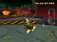 Koopa Troopa and Toad prepare to take a ramp on Bowser's Castle (GCN)
