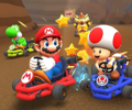 The icon of the Roy Cup challenge from the Los Angeles Tour and the Wario Cup challenge from the Ninja Tour in Mario Kart Tour.