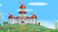 Peach's Castle in New Super Mario Bros. Wii, from the outside and inside respectively.