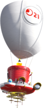 Artwork of the Odyssey ship, from Super Mario Odyssey