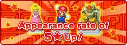 """In-game notification banner for """"Appearance rate of 5★ Up!"""" in Super Mario Run."""