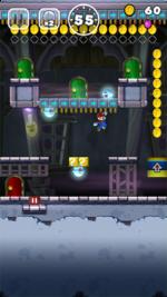 A ghost house level in Super Mario Run