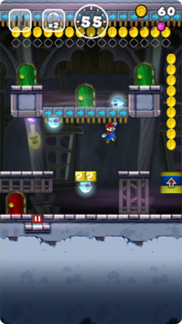 A ghost house level in Super Mario Run