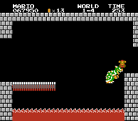 The glitch in Super Mario Bros. where Mario and Bowser are both defeated at the same time.