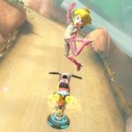Princess Peach performing a trick. Mario Kart 8.