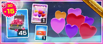The Heart Balloons Pack from the 2020 Halloween Tour in Mario Kart Tour