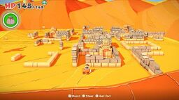 View of East Scorching Sandpaper ruins Paper Mario: The Origami King