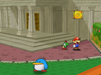 Mario next to the Shine Sprite  outside Poshley Sanctum in Poshley Heights in Paper Mario: The Thousand-Year Door.