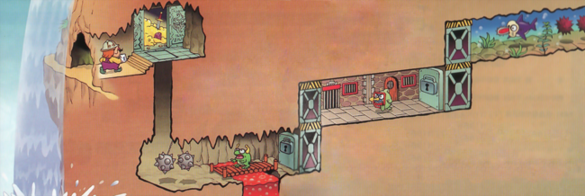 Artwork from the instruction manual, showing Wario about to fall into the trapdoor placed in front of the treasure room. The artwork demonstrates how the player gradually climbs their way out of the underground chasm by unlocking elevators, found at the end of stages.