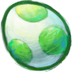 Artwork of a Yoshi egg, from Yoshi's New Island.