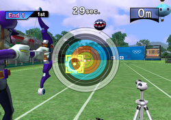 Waluigi competing in Archery.
