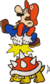 Mario jumping on a Spiny.