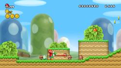 A screenshot of Propeller Mario and Yoshi in World 1-3.