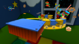 "A screenshot of Toy Time Galaxy during the ""Mario Meets Mario"" mission from Super Mario Galaxy."