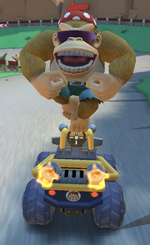 Funky Kong performing a trick.