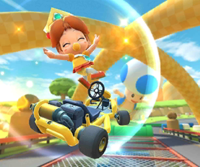 The icon of the Baby Daisy Cup challenge from the Tokyo Tour, the Mario Cup challenge from the 2020 Trick Tour, and the Larry Cup challenge from the 2021 Los Angeles Tour in Mario Kart Tour.