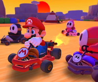The icon of the Toadette Cup challenge from the Sunset Tour in Mario Kart Tour