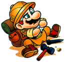 Mario brooding over a puzzle.