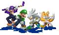 Waluigi - Luigi - Silver - Tails Artwork - Mario & Sonic Sochi 2014.png