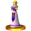 Adult Zelda's trophy, from Super Smash Bros. for Nintendo 3DS.