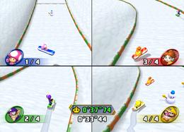 Wario snowboarding in Alpine Assault from Mario Party 8
