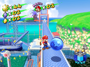 Mario stands at a Blue Coin in Ricco Harbor of Super Mario Sunshine