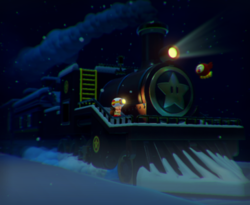 The illustration of Blizzard on the Star Express in Captain Toad: Treasure Tracker.