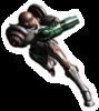 A sticker of Dark Suit Samus