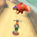 Shy Guy performing a trick. Mario Kart 8.
