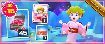 The Peach Kimono Pack from the New Year's 2021 Tour in Mario Kart Tour