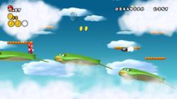 Mario, at World 5-5, in New Super Mario Bros. Wii.