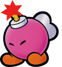 "Paper Mario promotional artwork: Bombette doing the ""going to explode"" pose"