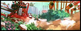 Concept artwork showing Ferndozers cutting down trees.