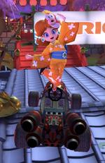 Daisy (Yukata) performing a trick.