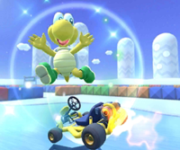 The icon of the Koopa Troopa Cup challenge from the Valentine's Tour and the Baby Peach Cup challenge from the Cat Tour in Mario Kart Tour