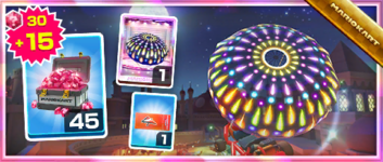 The Fireworks Parachute Pack from the Wild West Tour in Mario Kart Tour