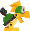 An origami Mechakoopa from Paper Mario: The Origami King.